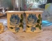 OOPSY destash SECONDS 2 large shabby chic vintage wooden spools cottage white blue roses antique wood sewing home decor crafts bowl filler