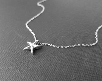 Sterling silver starfish necklace - star fish slide pendant