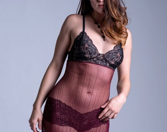 SALE - Sheer Nightgown - See Through Burgundy Mesh and Black Lace 'Blazing Star' Nightie - Custom Fit Lingerie