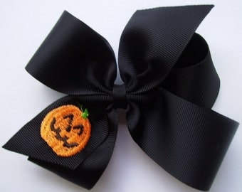 Fast Shipping, Halloween, Jack O Lantern, Hair Bows, Embroidered, Hairbows, School Party, Fall Idea, Gift Monogram, Custom Boutique, Girls
