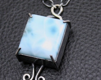 Skylight Necklace in Larimar and Sterling Silver