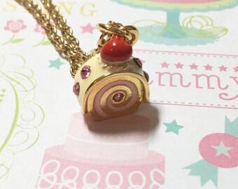Kawaii Strawberry Swiss Roll Cake Golden Necklace, Dessert Necklace, Cake Necklace, Sweet Necklace, Cute Necklace, Cute Gift, Christmas Gift