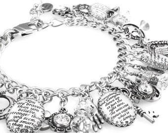 Silver Charm Bracelet,  Inspirational Quotes Charm Bracelet,  Personalized Inspirational Bracelet, Inspirational Jewelry