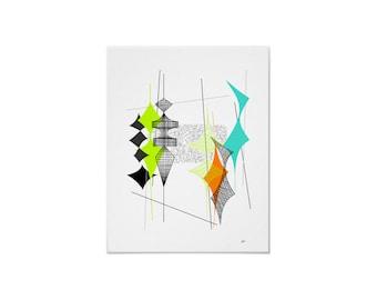 Diamand #2 Art Print Retro Atomic Modern by Tonya Newton in Various Sizes & Papers