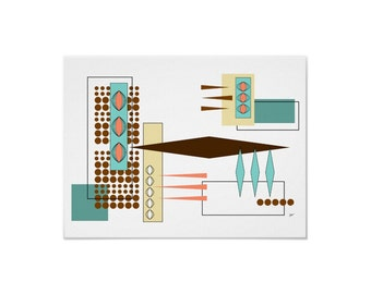 Bits and Pieces Art Print Modern Abstract by Tonya Newton in Various Sizes & Papers