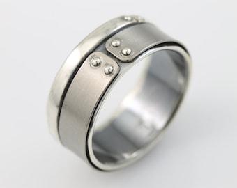 Titan Ring, mens ring, mens band, mens rings, unique mens ring, mixed metals, recycled metal, recycled silver, eco friendly, mens bands