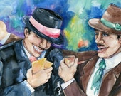 """Horse Race Winners Painting, Large Men Gambling Watercolor Art,  Original Painting """"The Winners"""" by Kathy Morton Stanion EBSQ"""