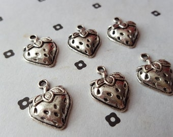 Antiqued Silver Strawberry Charms (6)