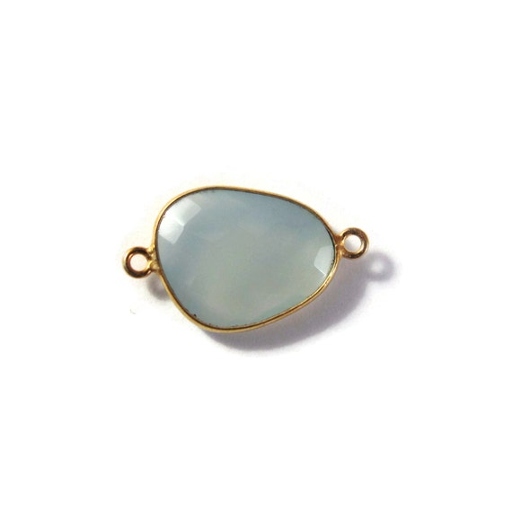 One Light Blue Gemstone Pendant, Blue Chalcedony Gemstone Charm, Gold Plated Bezel, 23mm x 14mm (C-Ch1a)