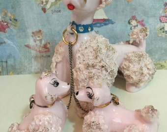 FREE SHIPPING Vintage Pink Mama Poodle Dog and Babies Puppies with Rhinestone Collar Gold Accents Figurines Lipper and Mann Collectibles