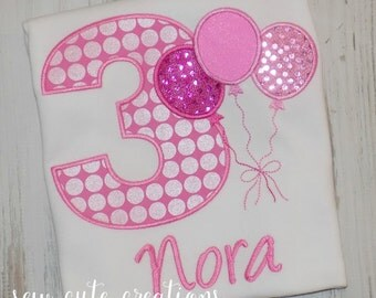 Balloon Birthday Shirt, Girls Balloon Shirt, Girls Baloon birthday shirt, Boys Birthday, Boys Balloon shirt, sew cute creations