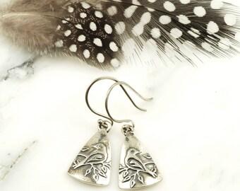 Dove Earrings - Hypoallergenic Sterling Silver Bird Earrings, Peace Jewelry