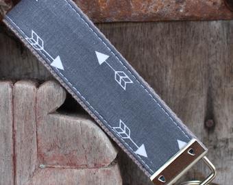 Beautiful Key Fob/Keychain/Wristlet-Double Arrow On Gray-READY TO SHIP
