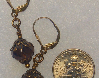 Semi precious Smoky Quartz and solid brass beaded lever back pierced or clip on earrings