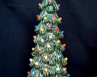 Ceramic Christmas tree - 10.5 inches tall Slim Tree - Xmas Centerpiece - Holiday Decor Tree - Vintage Christmas Decor - ceramic village tree