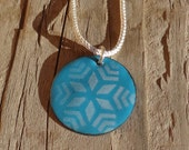 Handmade Copper Enamel Snowflake Necklace, Copper Enamel Circle, Enamel on Copper Snowflake Star Pattern Necklace, Soft White on French Blue