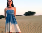 ORGANIC Women's INDIGO Dip-Dyed Love Me 2 Times Wanderer Below Knee Dress ( LIGHT hemp/organic cotton knit )