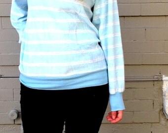 1980's Velour Sweatshirt // Hunt Club // Pastel Stripe Sweater // Women's Medium // Baby Blue and Pink // Golf // Fitted // Retro