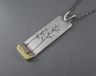 Handmade Summer Family Tree Mixed Metal Sterling Silver, Brass and Copper Pendant No. 2