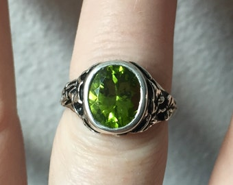 Peridot and Sterling- The Ivy Ring