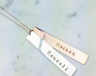 Double Vertical Long Bars custom silver rose gold necklace