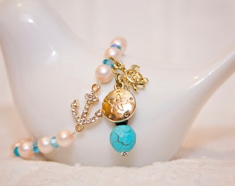 Anchor charm turtle sand dollar sea ocean jewelry elegant pearl beach charm stretch bracelet