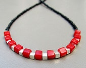 Handmade beaded red, black and silver necklace RED CUBES