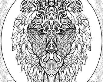 Leo coloring page etsy for Leo coloring pages