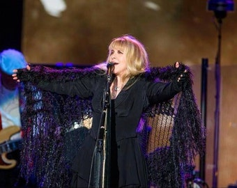 By Stevie Nicks Designer Clothing Gift Knit Accessories Stevie Nicks Clothing Fringed Shawl Concert Black and Silver Rhiannon Shawl
