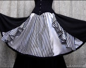 Running Away with the Circus Skirt by Kambriel - One of a Kind in Striped Taffeta and Silver Silk - Brand New & Ready to Ship!