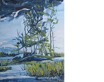 "Art Original Impressionist Landscape Oil Painting Wet Land Wilderness Fournier ""At Barbue Lake Frontenac National Park Quebec Canada 24 x 18"