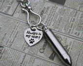 Always In My Heart stainless steel charm and bullet urn pet rescue charm necklace reliquary cremains remains screw top pet urn
