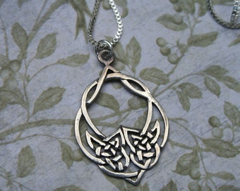 Sterling Celtic knot necklace .925 1 mm box chain