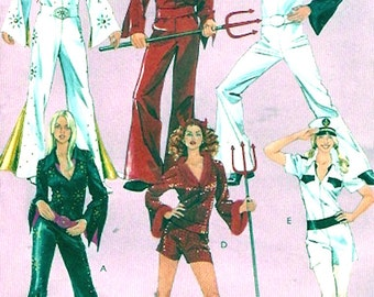 Mens Disco jumpsuit 70s Elvis womens costumes Halloween Entertainer theatre outfits sewing pattern McCalls 5734 Size XL to XXXL UNCUT