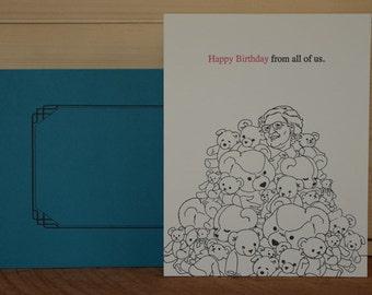 Bears Birthday - letterpress birthday greeting