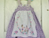 SALE Girls Sweet Violet Dress Spring Summer Dress Hand Embroidered Apron Girl Doll Bunny in the Daisies  Back Bow 3T 4T READY to SHIP