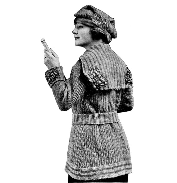 Edwardian Sewing Patterns- Dresses, Skirts, Blouses, Costumes 1910s WWI Liberty Sweater Coat and Hat Knitting E-Pattern- PDF Knitting Pattern Download $2.99 AT vintagedancer.com