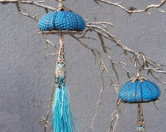Sea Urchin Ornaments - Blue and Silver - set of two