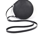 Cici - Handmade Black Leather Round Shoulder Bag Zip Pouch Purse