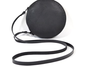 Cici - Handmade Black Leather Round Shoulder Bag Zip Pouch Purse