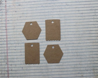 4 Bare Chipboard Hexagon Tag or scallop bottom Tags [choose style]