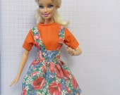 Barbie Doll Clothes, Skirt and blouse, Orange top, Floral skirt, Suspender Skirt, Barbie Outfit