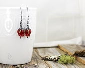 Bordeaux Petals, Sterling Silver and Glass roses in Dark Red, welded silversmith long dangle by Bellalili