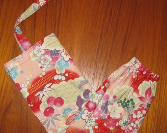 Floral Design Grocery Store Plastic Bag Dispenser Asian Japanese Fabric Red