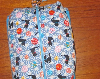 Deluxe Baby Changing Travel Set with Attached Changing Mat and Wrist Strap Black Cats Design