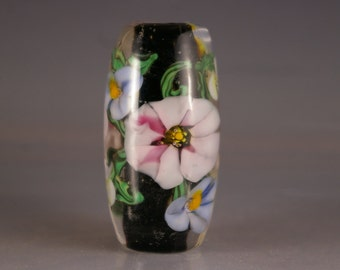 Lampwork Beads, lampwork  Focal Bead, Encased Floral in Pink and Black