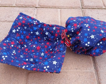 Red White & Blue Stars and Stripes Bowl Cozy and/or Bowl Cover Washable Reversible ECO FRIENDLY