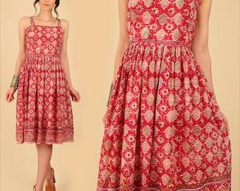 ViNtAgE Adini Dress Indian Gauze Cotton RARE Sun Dress Red Gypsy Festival Dress // India Bohemian BoHo HiPPiE Small S
