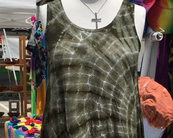 Tie Dye HI-lo Muir Green Shibori Tank Dress
