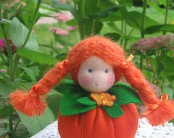 Sale Pumpkin Doll-Felt Pumpkin-Nature Table-Seasonal Table-Home Decor- Ornament-Waldorf Inspired